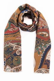 Camel Brown Pure Italian Wool & Ultra Soft Silk Paisley Scarf-Fumagalli 1891