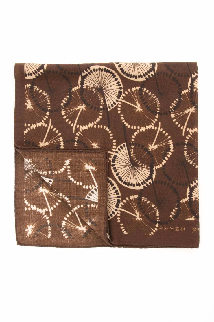 Dark Red Ultra Soft Silk & Cotton Dandelion Bandana Foulard-Fumagalli 1891