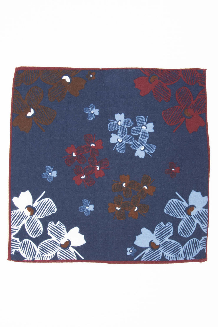 Blue Pure italian Wool Jasmine Flower Pocket Square-Fumagalli 1891