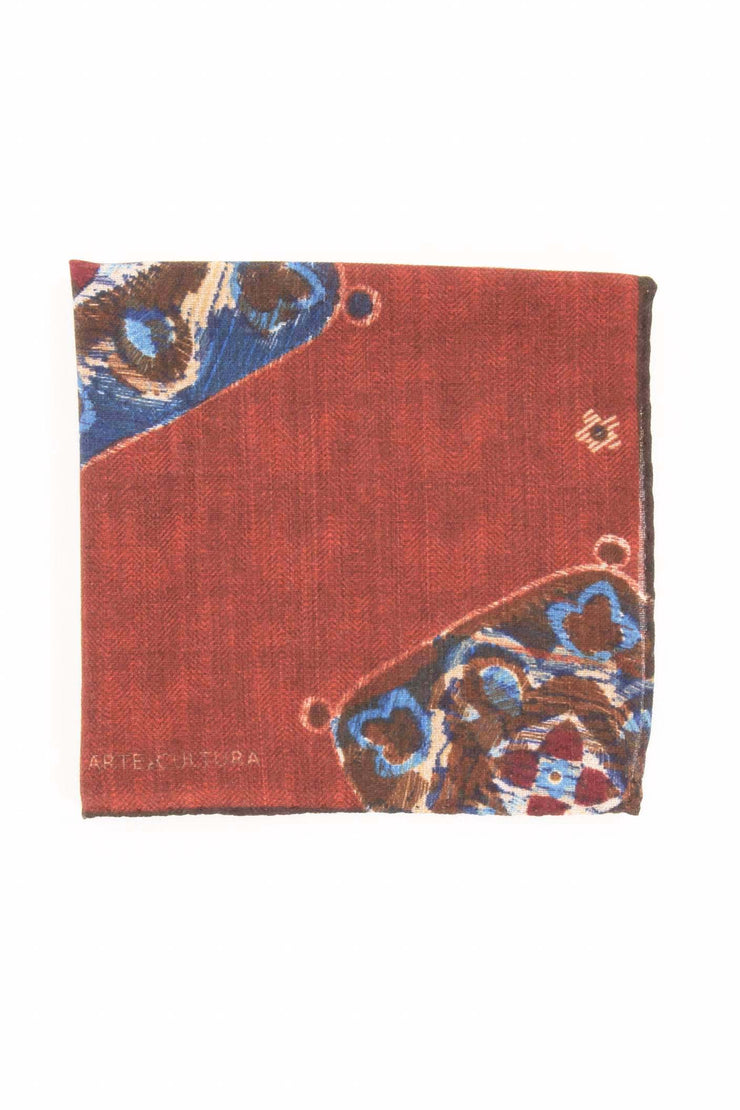 Brick Red Pure Italian Wool Vintage Pocket Square - Fumagalli 1891