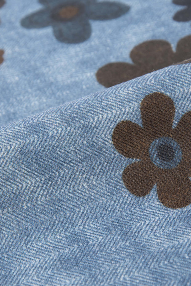 Light Blue Pure Italian Wool Logo Pocket Square - Fumagalli 1891