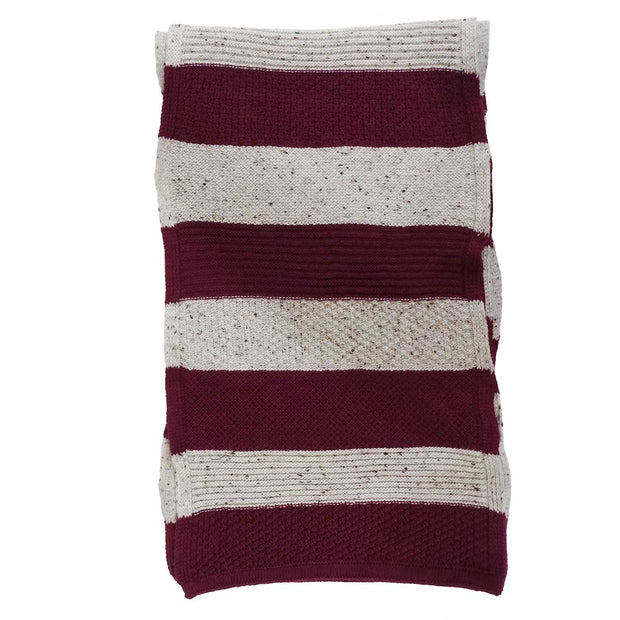 Striped burgundy & grey winter scarf - Fumagalli 1891