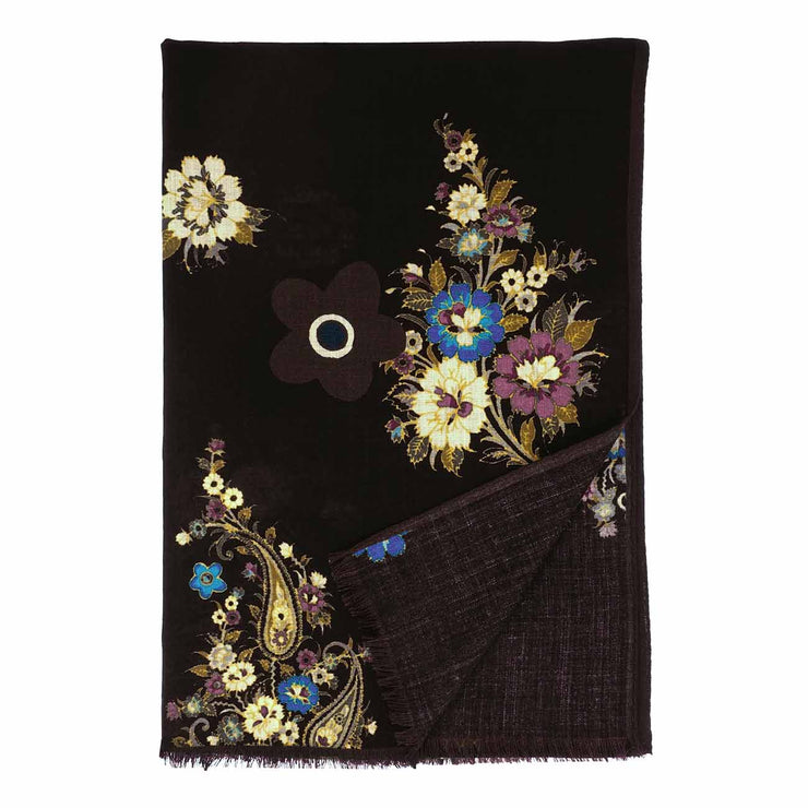Fringed black pure wool hand made scarf - Fumagalli 1891
