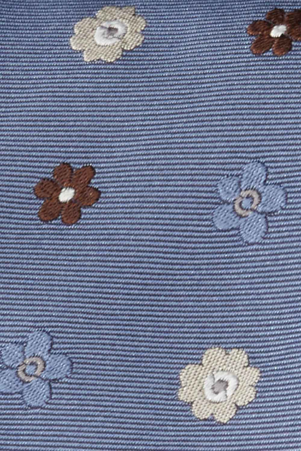 light blue floral jacquard silk hand made tie - Fumagalli 1891