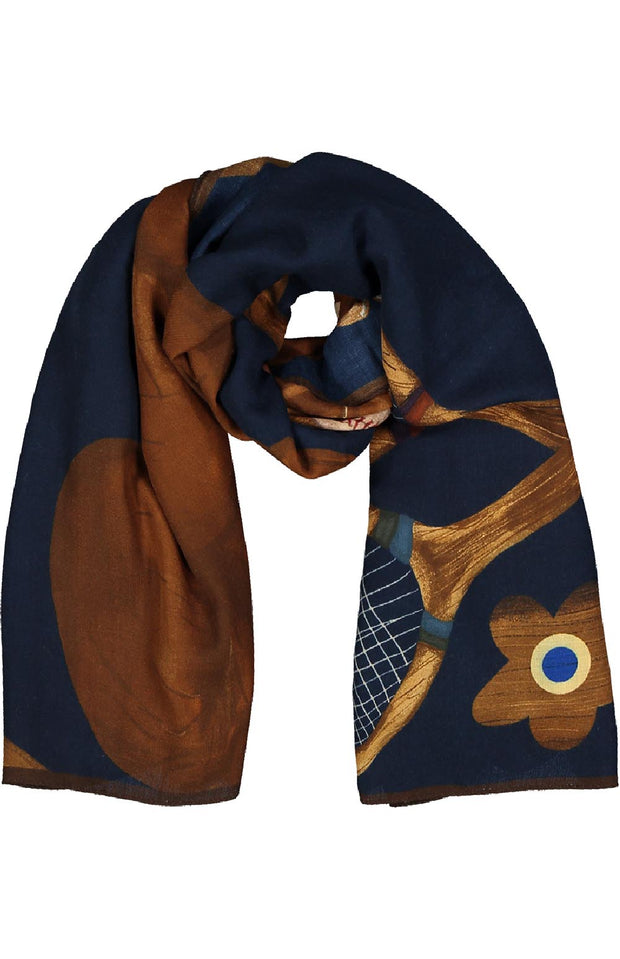 Blue gentlemans's games design wool & silk printed hand made scarf - Fumagalli 1891