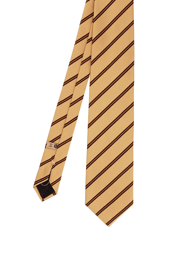 Yellow striped jacquard regimental hand made tie - Fumagalli 1891