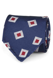 BLUE & WHITE E RED CLASSIC PATTERN VINTAGE SILK UNLINED hand made TIE - Fumagalli 1891