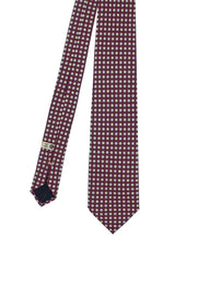 Burgundy little floral patterned pure silk hand made tie - Fumagalli 1891