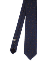 Blue airplane design silk hand made tie - Fumagalli 1891