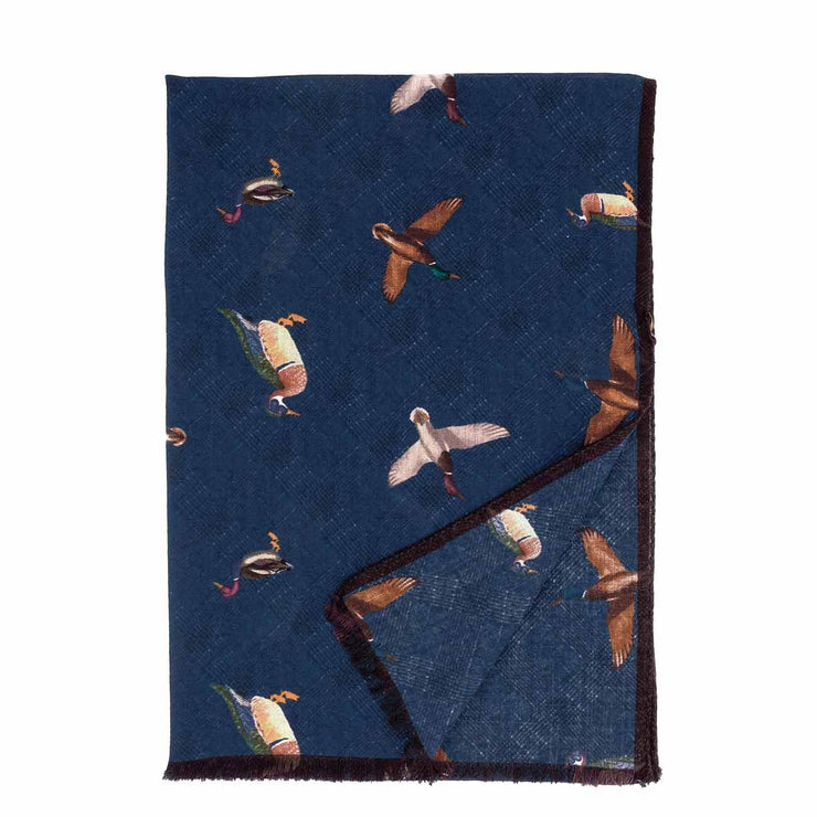 Fringed blue birds pure wool hand made scarf - Fumagalli 1891