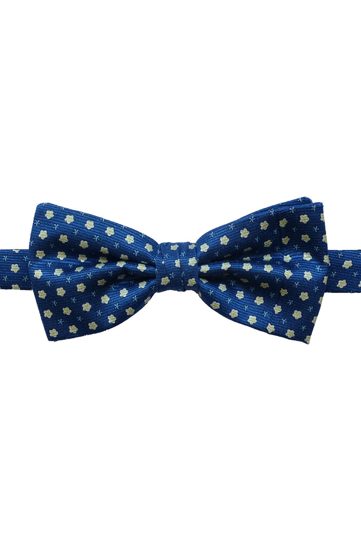 Blue & yellow little floral silk ready-tie bow tie - Fumagalli 1891