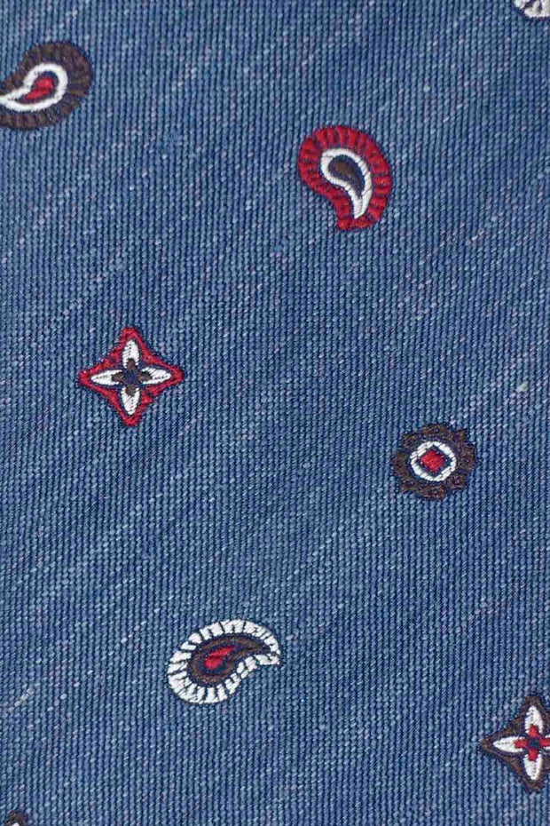 BLUE, WHITE & RED SMALL DESIGNS PATTERN SILK & LINEN HAND MADE TIE- Fumagalli 1891
