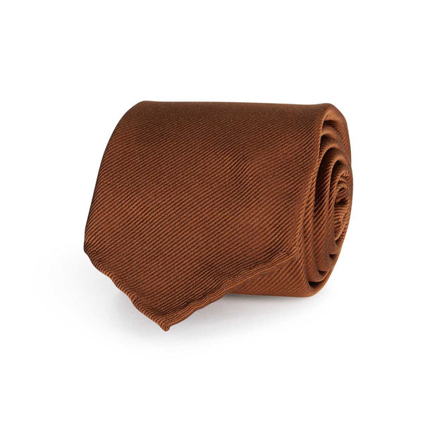 Light brown repsone pure silk unlined handmade tie- Fumagalli 1891