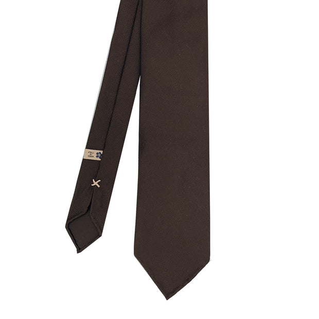 Brown plain super reps pure silk unlined handmade tie- Fumagalli 1891