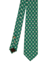 Green diamonds & squares printed pure silk hand made tie - Fumagalli 1891