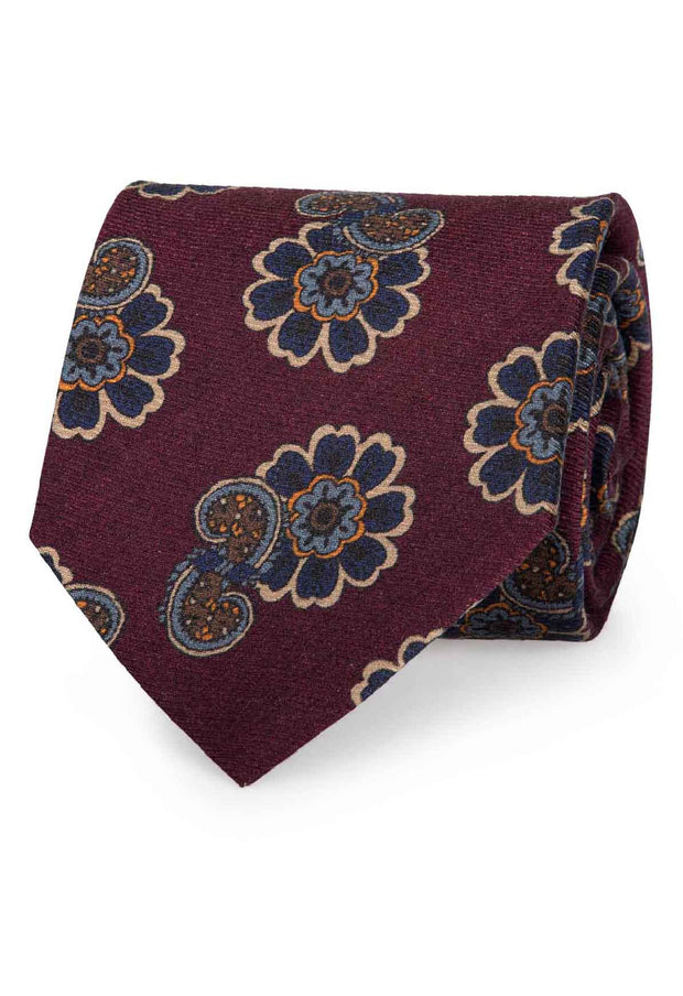 BURGUNDY & BLUE FLOWER & PAISLEY PATTERN SILK PRINTED HAND MADE TIE - FUMAGALLI 1891