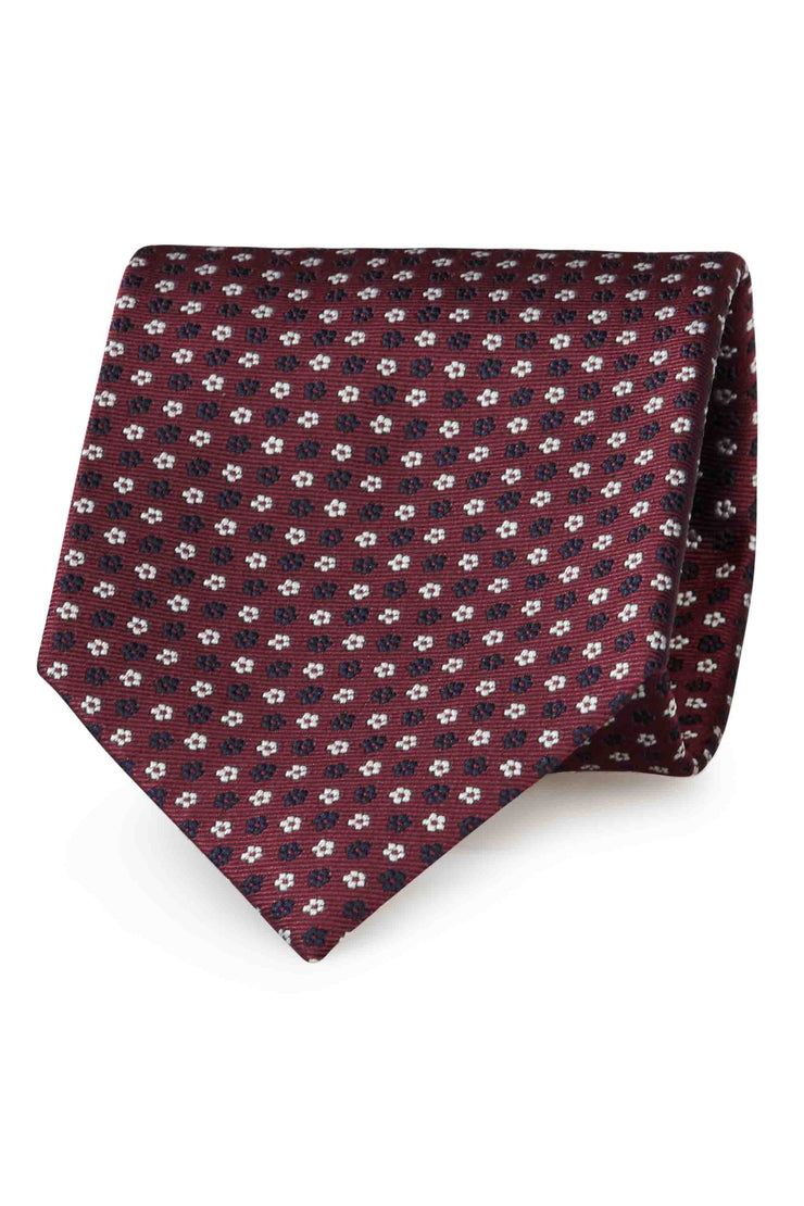 BURGUNDY, WHITE & BLUE FLORAL JACQUARD  HAND MADE SILK TIE - FUMAGALLI 1891