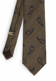 green olive tie with paisley yellow & dark blue pattern