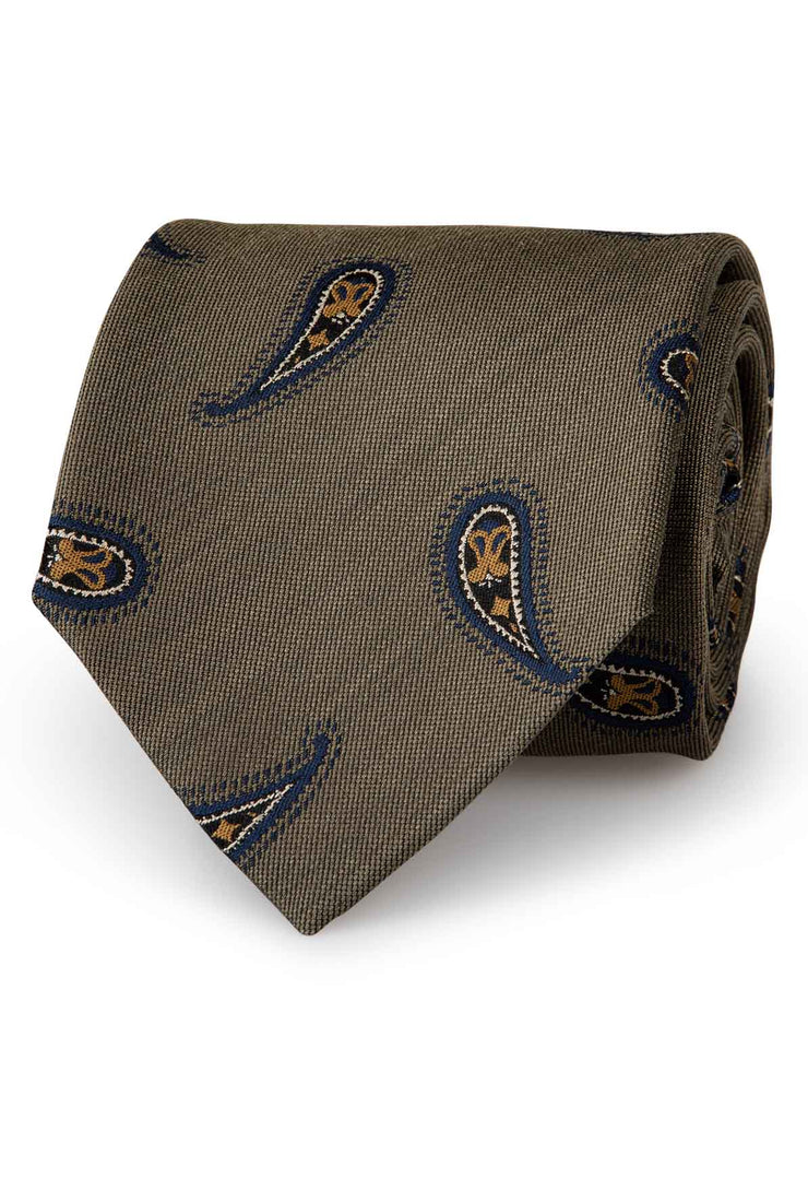 green olive tie with blue and yellow paisley