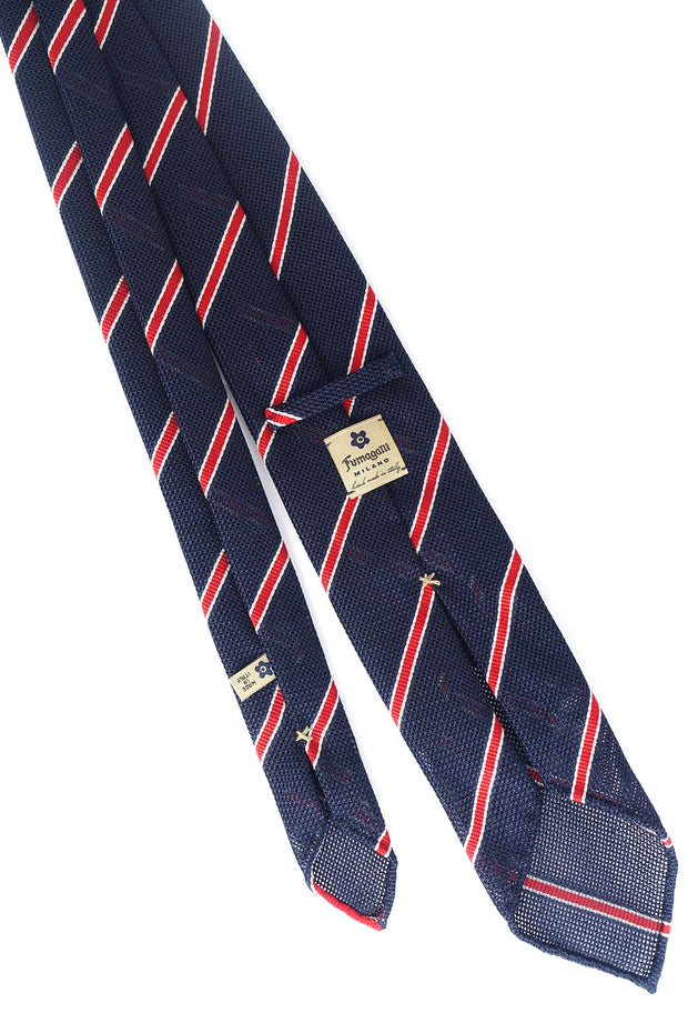 Blue, red & white striped grenadine silk hand made tie - fumagalli 1891