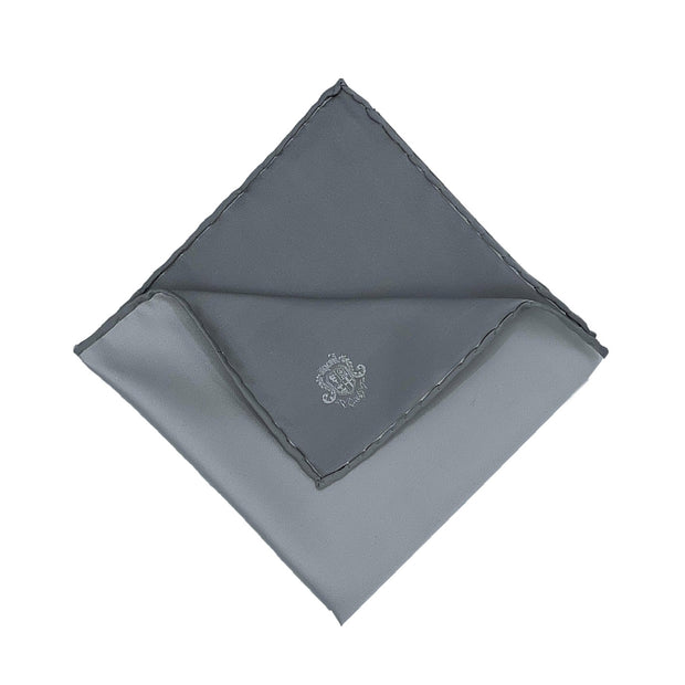 Grey plain pure selected silk event handmade pocket square - Fumagalli 1891