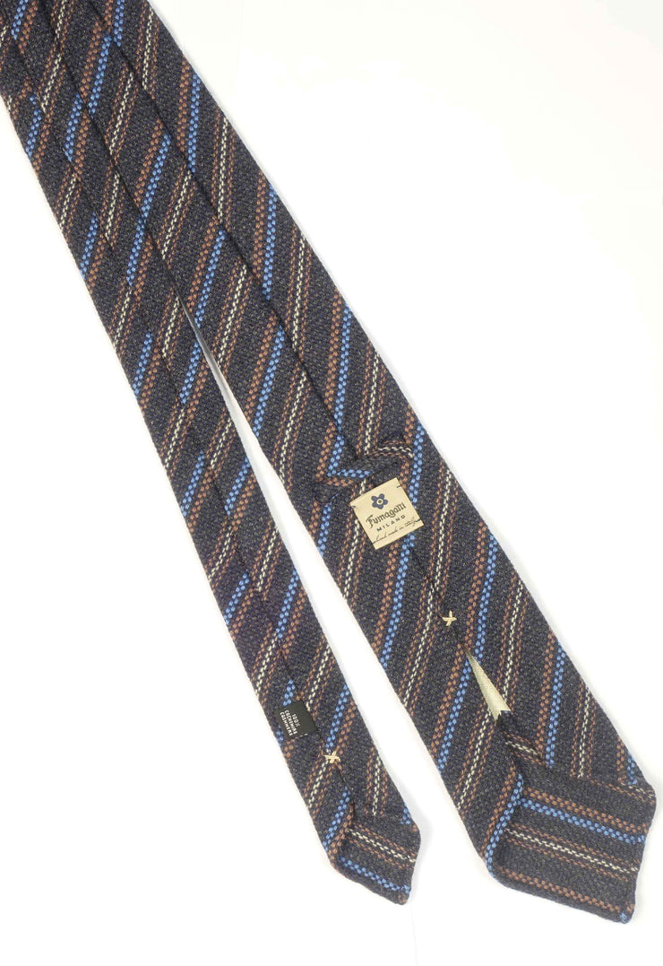 hand made cashmere tie with different sizes stripe and different colour
