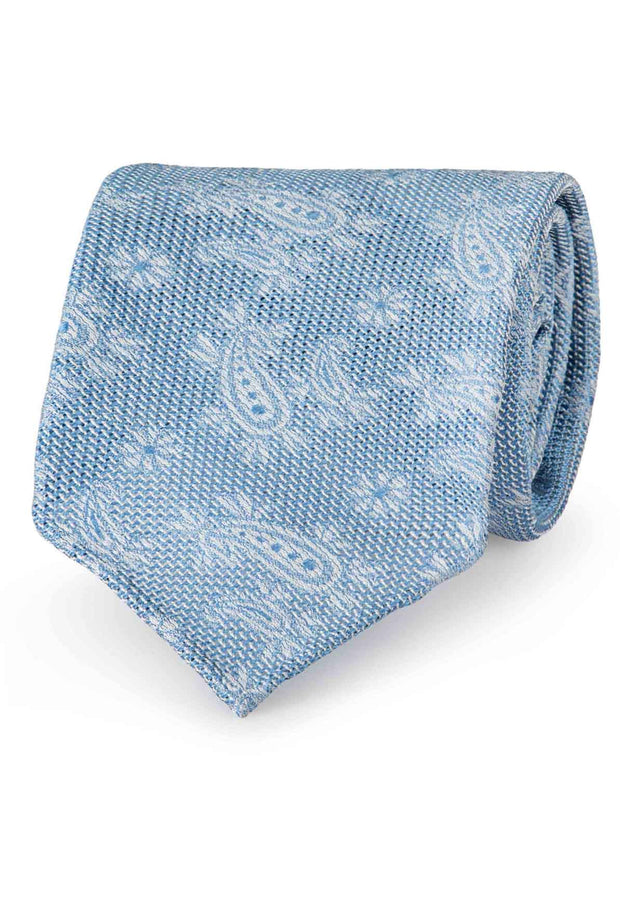 Light blue paisley patterned Garza fina grenadine silk hand made tie - Fumagalli 1891