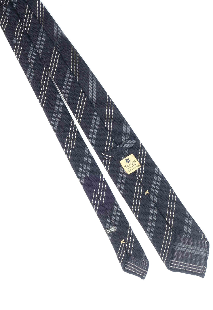 Blue, grey & white striped grenadine silk & wool hand made tie - Fumagalli 1891