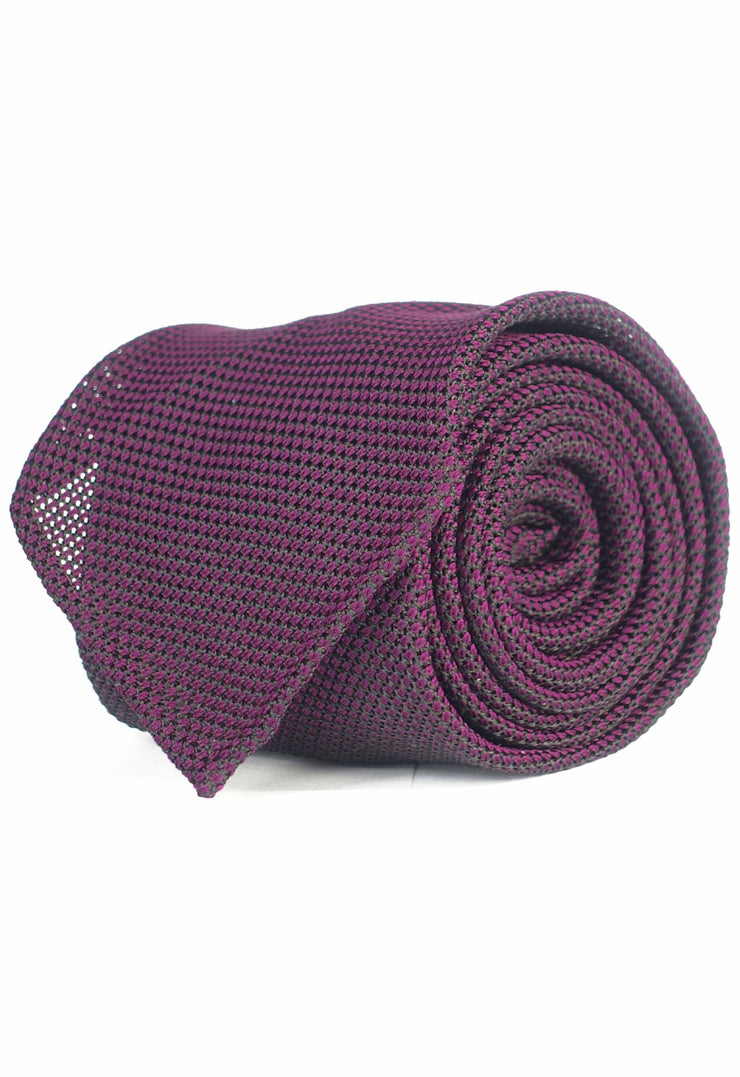 grenadine hand made tie with black and burple interweaving