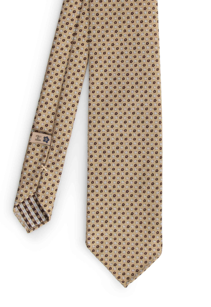 vision of all the tie with little micro floral pattern brown and white