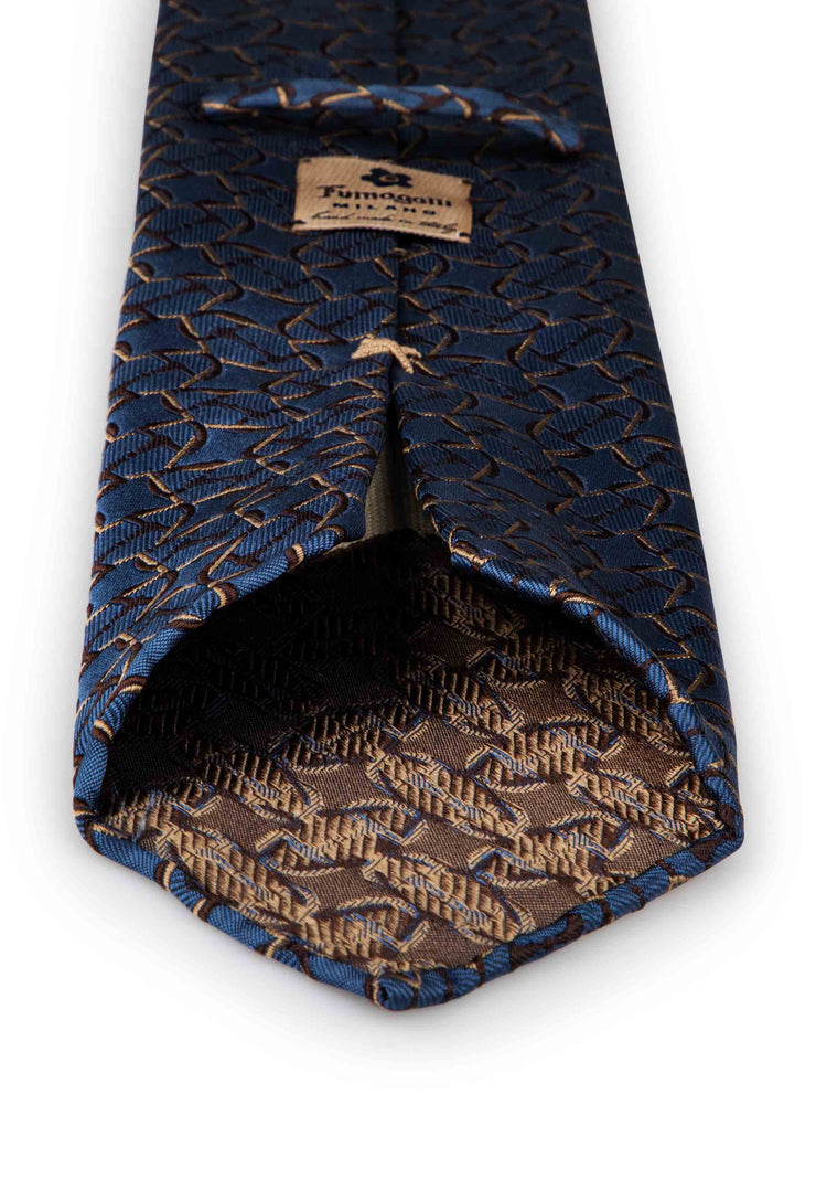 hand made jacquard unlined tie with brown and sand brown patterned