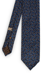 hand made jacquard tie unlined, with little label and brown detail