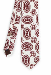 back of the hand made printed tie with fantasy pattern