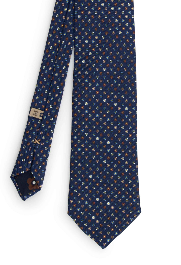 hand made printed tie front vision wirh little coloured daisy