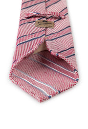 hand made grenadine tie with different stripes: denim blue, pink and white