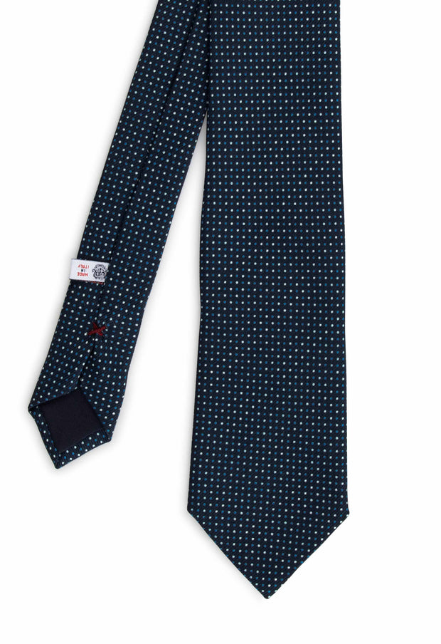 hand made printed tie with white and light blue dots