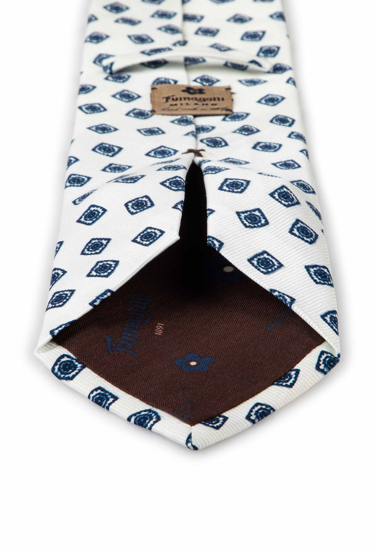 hand made printed tie white and blue silk little diamonds with fumagalli label