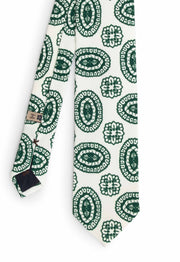 White & green fantasy patterned printed silk hand made tie - Fumagalli 1891