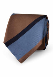 striped hand made tie with different dimentions and colours stripes.