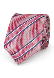 hand made tie handsewn in italy with stripe of differet lenght