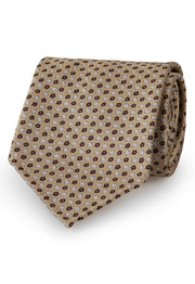 the sand brown tie has two different colour flowers: white and brown.