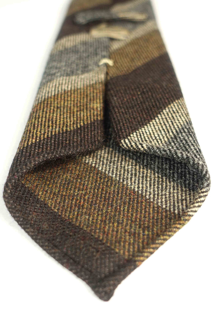 donegal hand made tie, striped brown,light brown,white,grey