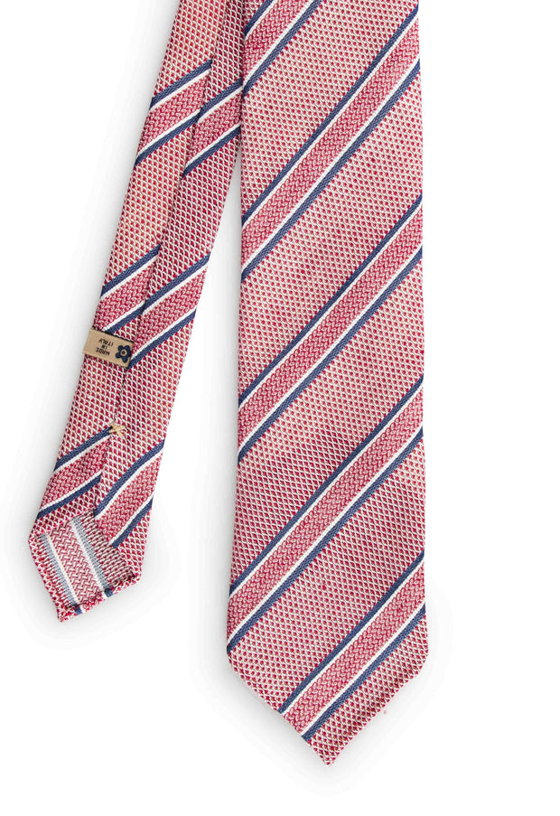 total vision of  the grenadine tie with different color stripes