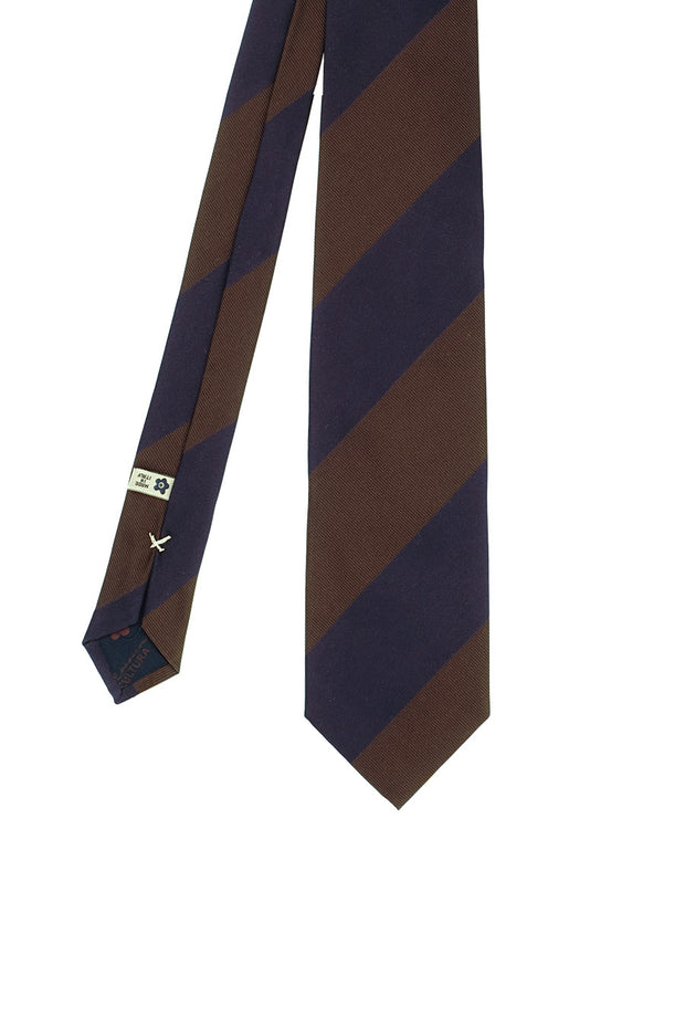 Brown and blue big stripes regimental silk hand made tie - Fumagalli 1891