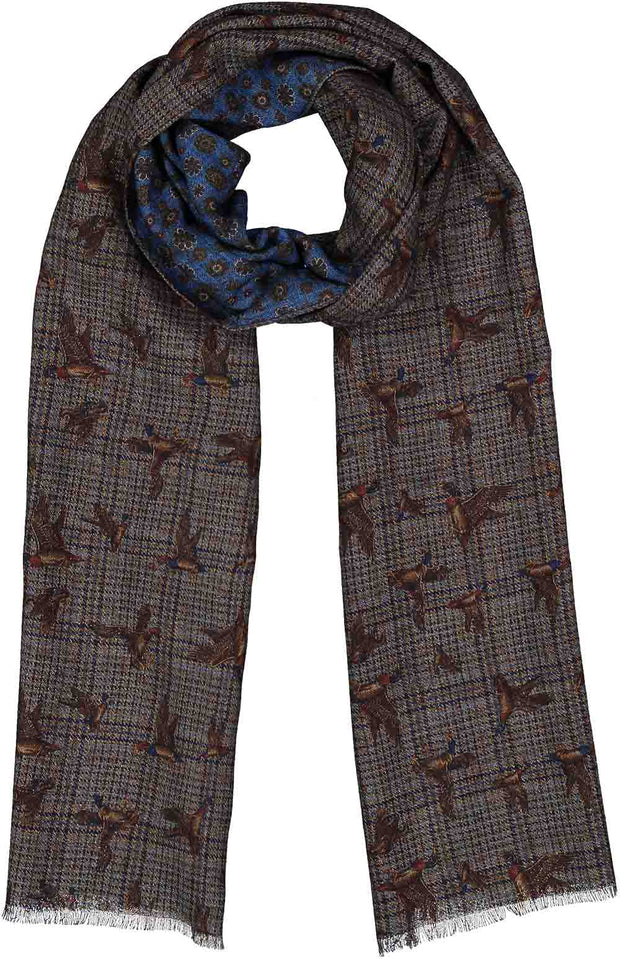 Double face printed grey & light blue wool hand made scarf - Fumagalli 1891