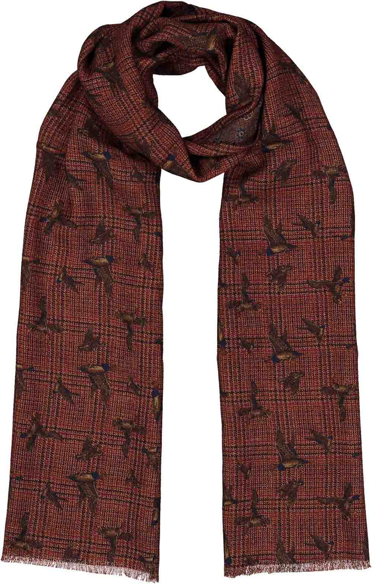 Double face printed red & brown wool hand made scarf - Fumagalli 1891