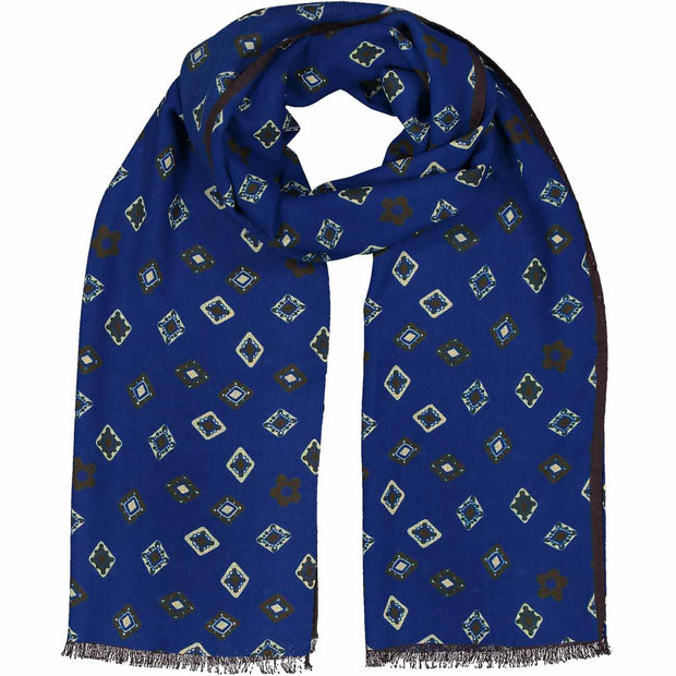 Fringed blue diamonds pure wool hand made scarf - Fumagalli 1891