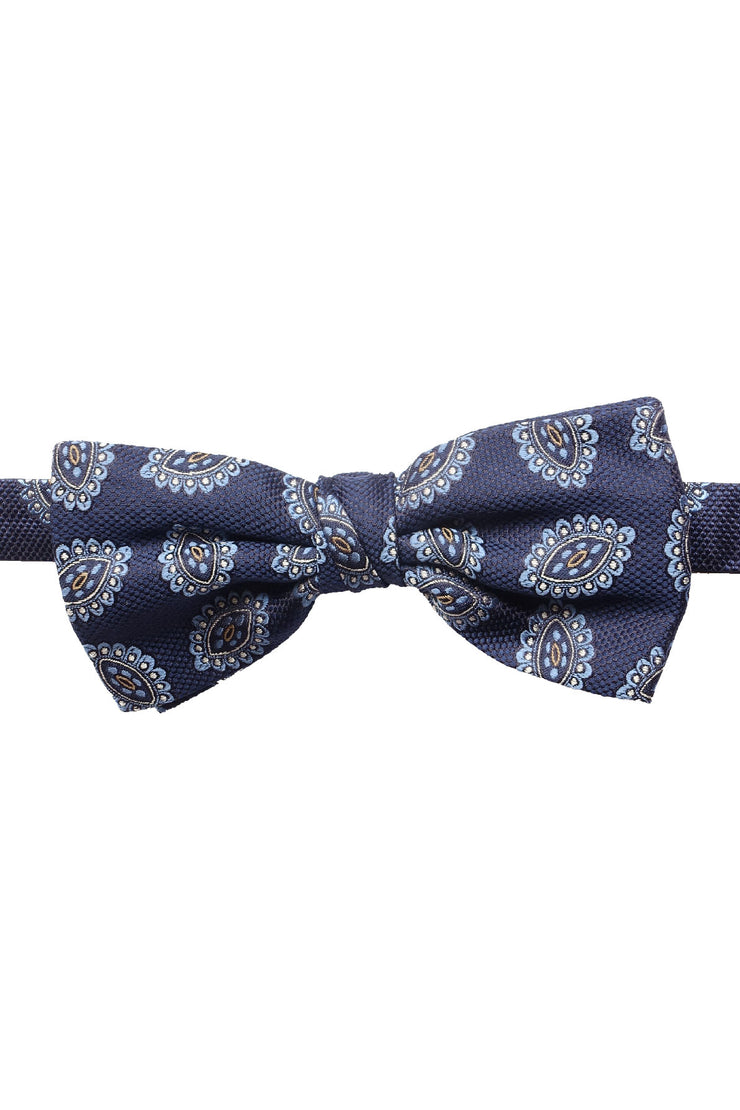 floral medallion jacqurd motif on a blue silk ready tied bow tie