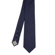 Blue little white dots pure silk jacquard hand made tie - Fumagalli 1891