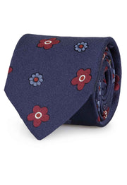 Blue floral pattern jacquard hand made tie - Fumagalli 1891